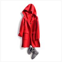 一件懂女人的大衣 连帽领 双全面羊毛呢外套 女 703N01