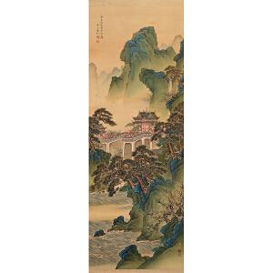 袁江(日本回流)《亭台楼阁》绢本立轴