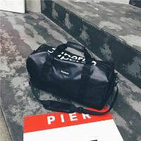 短途旅行包女手提鞋位行李包男韩版大容量旅行袋防水运动健身包潮多卡位男零钱包 欧美横款学生钱夹带扣拉链 黑色 小