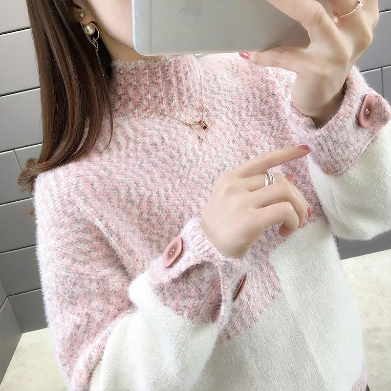水貂绒女士拼色毛衣2010新款高领套头宽松外穿风秋冬厚打底衫