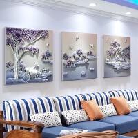 沙发背景墙装饰画新中式客厅无框画组合三联画书房卧室玄关装饰画浮雕画 现货:70*70cm*3片 25mm厚板+35m