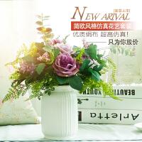 包邮仿真绢花艺套装白色陶瓷花瓶玫瑰假花盆栽餐桌摆花家饰