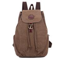 复古双肩包女运动包学院风帆布包背包 桶包休闲包大学生书包