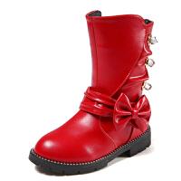 女童靴子秋棉靴2017新款加绒短靴韩版公主鞋中大童马丁靴鞋 红色(137) 27码/内长约16.6厘米