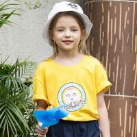 【2件5.5折到手价:49】小猪班纳女童短袖t恤夏装中大童儿童洋气上衣