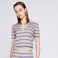 【11.11当天 到手价:428元】dzzit地素 19春装新款套头polo领条纹彩葱线针织衫女3G1E3062X