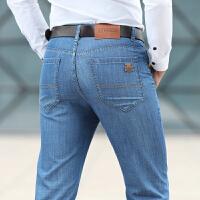 765春夏新款吉普JEEP薄款男士直筒牛仔裤 中腰商务休闲牛仔长裤子 蓝色