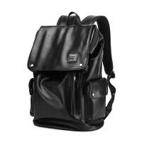 男士双肩包大容量休闲青年电脑背包旅行简时尚潮流书包皮包 黑色