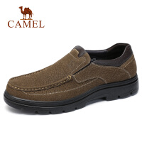 camel骆驼男鞋 2018秋季新款商务休闲低帮皮鞋牛皮套脚皮鞋青年男鞋