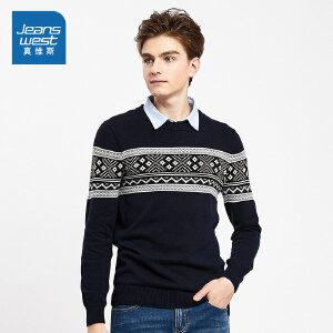 [超级大牌日每满299-150]真维斯针织衫男2018冬装新款男装纯棉假两件线衫爸爸毛衣