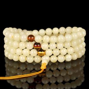 珍稀白蜜蜡圆珠108佛珠手链 直径7mm 重量23.94g