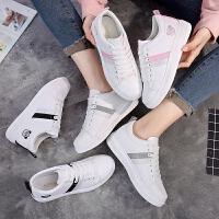 小白鞋女春季新款韩版运动鞋百搭平底板鞋皮面白鞋子学生女鞋