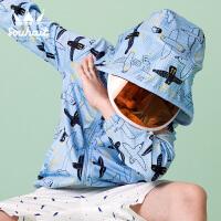 【3件3折:98.7元】souhait水孩儿童装夏季新款男童外套时尚印花皮肤衣儿童皮肤衣外套