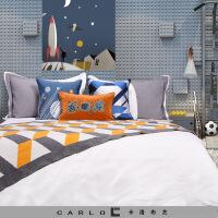 【官方旗舰店】简约现代软装样板房展厅太空主题星空机器人儿童男孩房十件套床品