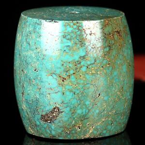 原矿高瓷绿松石单颗桶珠 重量31.99g