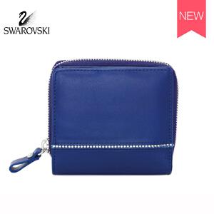 SWAROVSKI/施华洛世奇 经典女士镶水晶短款皮钱包皮夹子 蓝色5186962