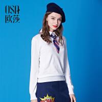 OSA欧莎冬季新款女装 显瘦纯色翻领套头毛针织衫女冬D16020
