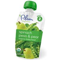 plum/谷百 二段菠菜豌豆香梨混合果蔬泥 113g宝宝辅食