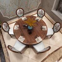 20190402172225797美式乡村实木伸缩餐桌简约可折叠餐桌椅组合欧式家具圆形饭桌