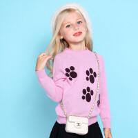 加菲猫女童提花针织衫儿童春装新款打底衫GGM17556