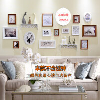 实木照片墙欧式美式现代相框墙相框创意组合挂墙客厅卧室相片墙