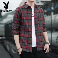 花花公子长袖衬衫男2020春季新款衬衫男长袖潮流韩版帅气格子衬衣男士外套