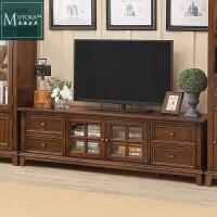 美式电视柜白蜡木纯实木茶几电视柜组合美式乡村客厅美式家具地柜 整装