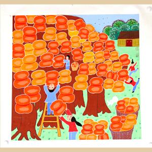 《万事如意》中国农民画之乡,山东青州十佳农民画画家之一王化芹