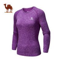 骆驼健身男女上衣 跑步健身运动舒适长袖情侣瑜伽服
