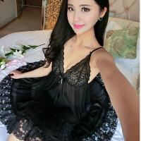 极度诱惑宽松大码性感睡衣女夏透明蕾丝吊带睡裙薄款中裙