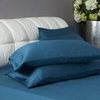 君别60支贡缎棉枕套一对 定制棉枕头套 纯色枕套长绒棉单人枕芯套