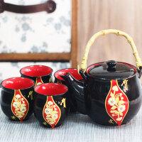 陶瓷色釉礼品茶具五件套和风日式茶具 整套茶具陶瓷整套旅行茶具盖碗茶壶茶杯办公家用