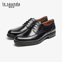莱尔斯丹 男鞋时尚商务正装圆头系带粗跟低跟男单鞋皮鞋德比鞋LS ATM55701