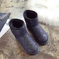 雪地靴女短筒亮片百搭学生2018冬季新款加绒平底棉鞋皮毛一体短靴