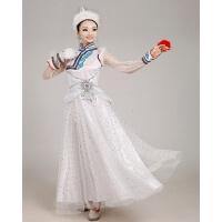 新款向天歌蒙古民族舞台舞蹈服装大摆裙古典舞女广场舞演出服 白色