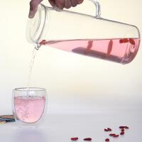 玻璃凉水壶 玻璃水壶1.5升带盖子水杯冷水壶玻璃凉水壶家用大容量耐热水壶饮料果汁扎壶水壶套
