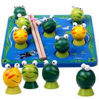 木制3D磁性立体大号磁铁钓鱼钓青蛙 宝宝幼儿早教益智亲子玩具