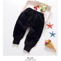 宝宝加绒裤子男1-3岁婴幼 金丝绒裤子双面绒男童加厚保暖长裤 黑色