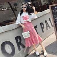 实拍2018夏季新款两件套裙子女夏韩版中长款学生短袖小香风连衣裙