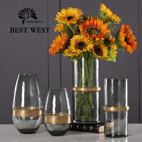 玻璃花瓶摆件透明简约现代客厅餐桌欧式复古创意富贵竹插花大花瓶