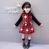 女童连衣裙秋款长袖拼接童裙韩版加绒加厚女孩裙子宝宝公主裙