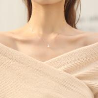 清新甜美水晶爱心贝珠珍珠项链女纯银简约百搭锁骨链配饰