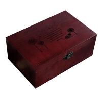 复古木盒子木箱匣子收纳木质盒带锁小箱子收藏木制木盒实木储物箱Q