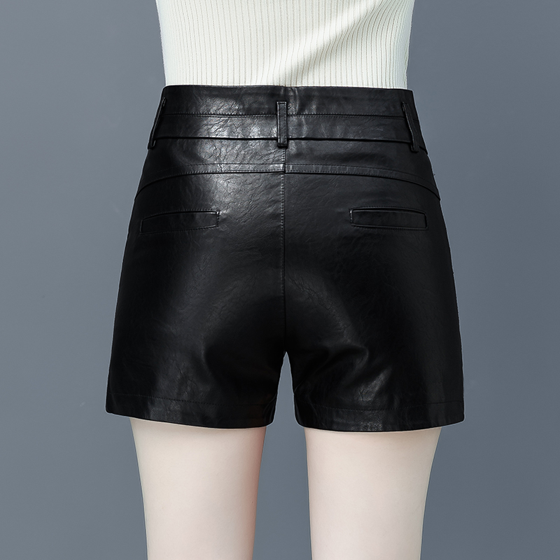 2019秋冬PU皮短裤女高腰显瘦百搭修身大码外穿黑色皮裤靴裤