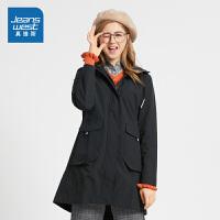 [满99减10元/满199减30元]真维斯女装 秋装新款 中长身连帽风衣外套