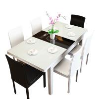 餐桌现代简约可伸缩餐桌椅组合大小户型电磁炉火锅钢化玻璃餐台