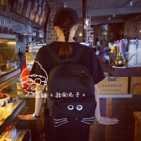 新款韩国日系原宿夏日风卡通软妹猫咪皇冠书包黑色可爱双肩包学生背包