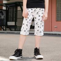 【2件5.5折价:71】小猪班纳童装男童休闲裤2019新款儿童七分裤男孩短裤