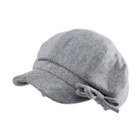 帽子女秋冬时尚新款贝雷帽休闲复古鸭舌帽保暖蝴蝶结羊毛呢帽子
