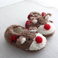 新款棉拖鞋女 包跟厚底冬季韩版可爱卡通防滑毛绒拖鞋月子鞋 如图小鹿